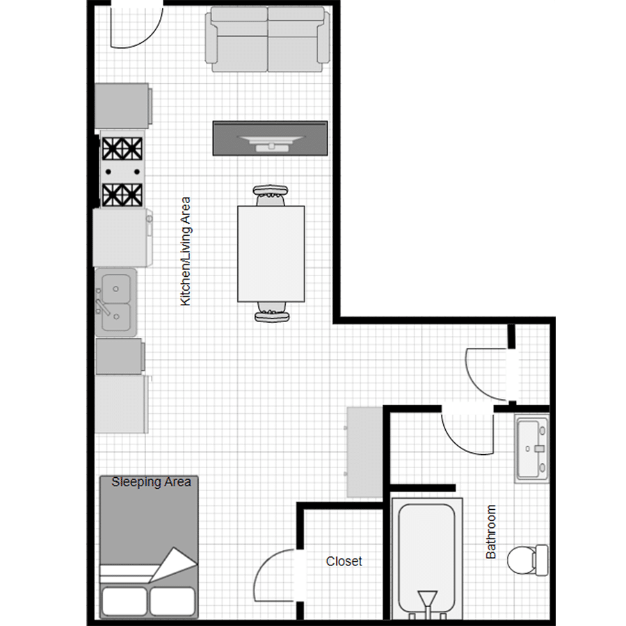 Walthall Lofts Studio B Layout