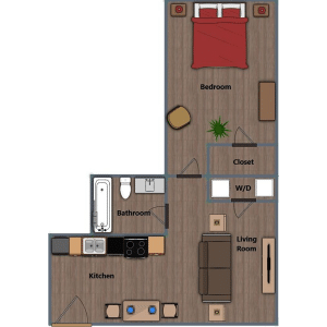Walthall Lofts Apartment 2 Layout