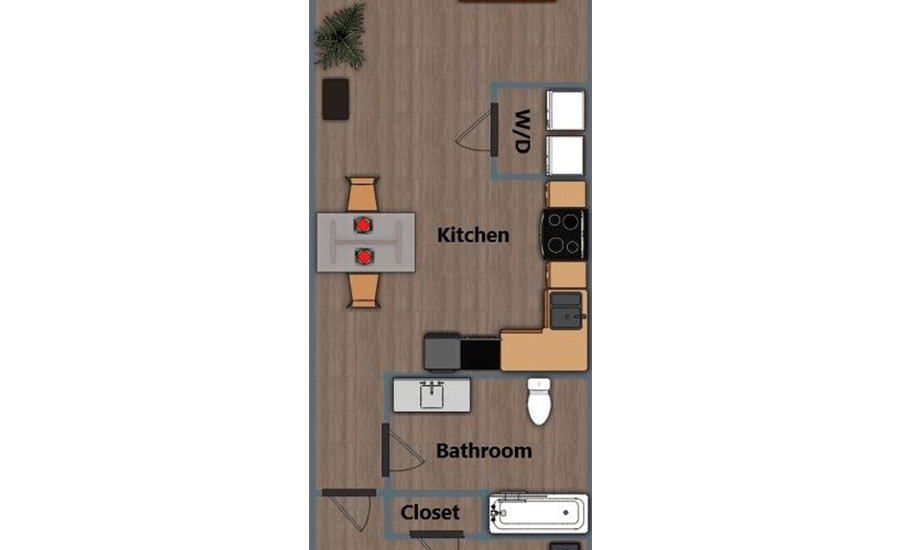 Walthall Lofts Apartment 4 Layout