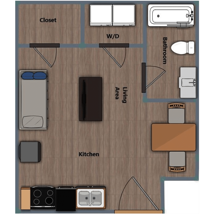Walthall Lofts Studio 1 Layout